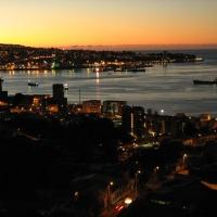 Atardecer en la bahía de Valparaíso